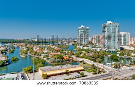 Aerial view of Miami Intracoastal and luxury properties and condominiums. - stock photo