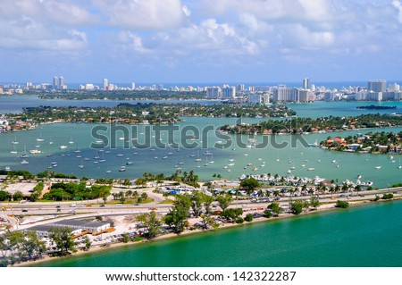 Aerial view of Miami islands, Florida, USA - stock photo