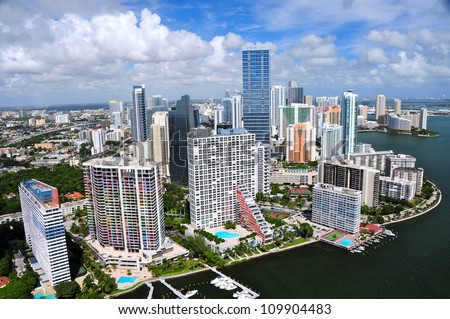 Aerial view of Miami skyline, Miami, Florida, USA - stock photo