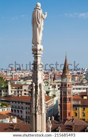 Aerial view of Milan  from Duomo roof terrace, Italy - stock photo
