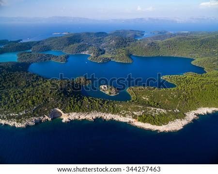 Aerial view of Mljet Lake with Monastery of Saint Mary, Croatia. - stock photo