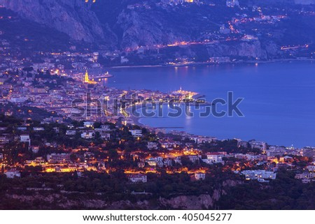 Aerial view of Monaco and Menton. Menton, Provence-Alpes-Cote d'Azur, France. - stock photo