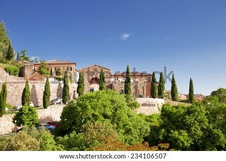 Aerial View of Montalcino, the City of Brunello Wine, Italy - stock photo