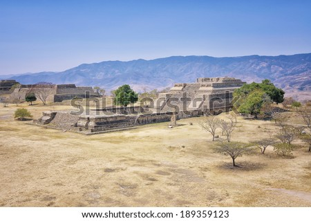 Aerial view of Monte Alban Ruins, Oaxaca, Mexico - stock photo