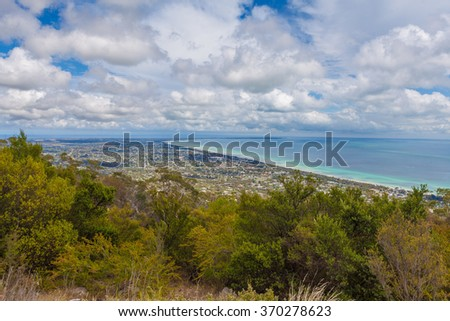 Aerial view of Mornington Peninsula, Melbourne, Australia. Houses scattered across large bay area - stock photo