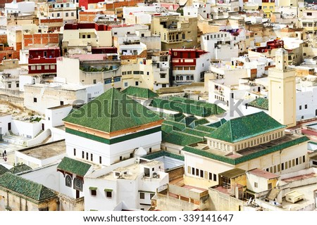 Aerial view of Moulay Idriss, the holy town in Morocco, named after Moulay Idriss I, arrived in 789 bringing the religion of Islam - stock photo