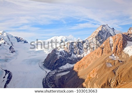 Aerial View of Mountain Cook National Park with Fanz Josef Glacier Landscape New Zealand - stock photo