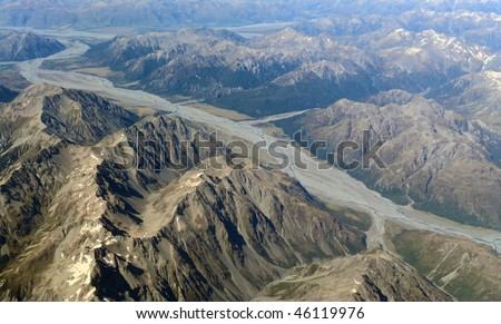 Aerial view of mountains ,new zealand - stock photo