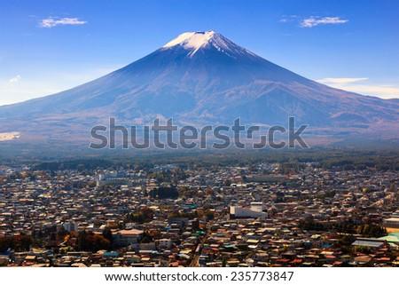 Aerial view of mt.Fuji, Fujiyoshida, Japan - stock photo