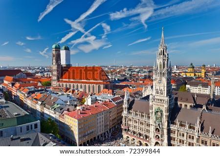 Aerial view of Munchen: Marienplatz, New Town Hall and Frauenkirche - stock photo