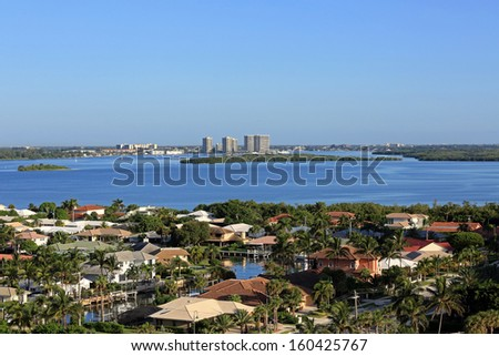 Aerial view of Munyon Islands in South Florida - stock photo