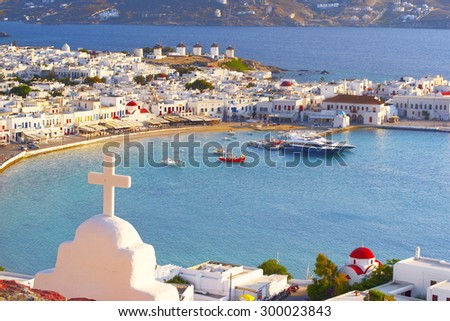 Aerial view of Mykonos Town, Chora - Mykonos Island, Greece - stock photo
