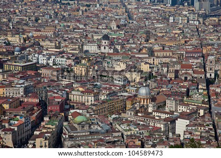 Aerial view of Napoli historic centre - stock photo