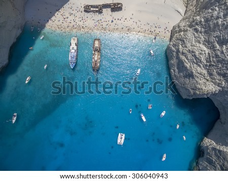 Aerial view of Navagio (Shipwreck) Beach in Zakynthos, Navagio Beach is a popular attraction among tourists visiting the island of Zakynthos - stock photo