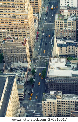 Aerial view of New York Buildings and Skyscrapers at dusk. - stock photo