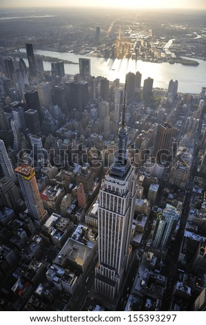 Aerial view of New York City skyline and Empire State building - stock photo