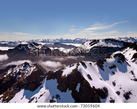 Aerial view of New Zealand's Southern Alps - stock photo