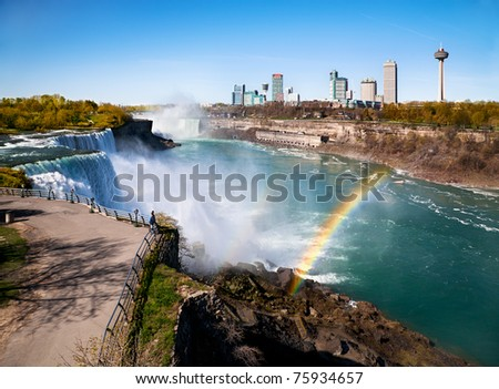 Aerial view of Niagara Falls and rainbow - stock photo