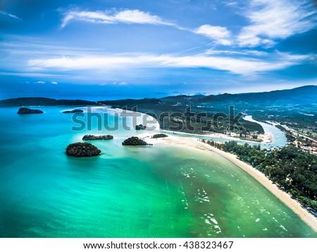 Aerial view of Nopparat thara beach public park, Krabi, Thailand. Estuary, mountain, sea, islands and blue sky. - stock photo