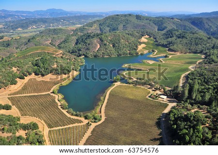 aerial view of northern california vineyards - stock photo