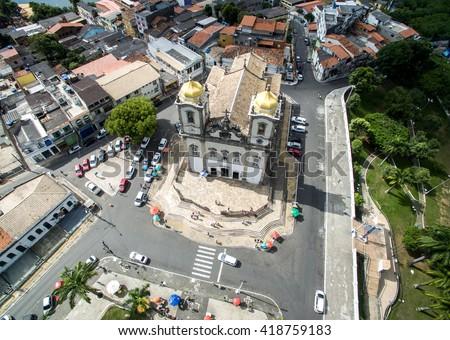 Aerial View of Nosso Senhor do Bonfim da Bahia church in Salvador Bahia Brazil - stock photo