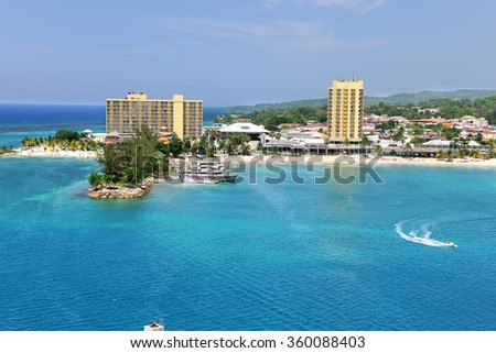 Aerial view of Ocho Rios in Jamaica during sunny day - stock photo