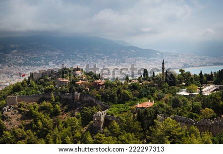Aerial view of of Alanya Castle, Turkey - stock photo