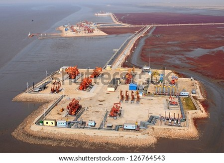 aerial view of oil pumps. Oil industry equipment. - stock photo