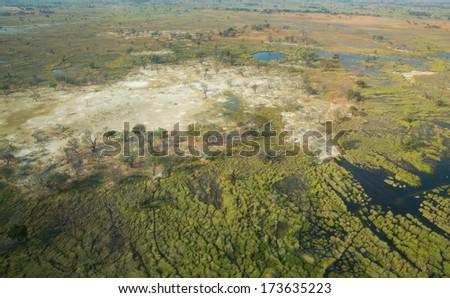 Aerial view of okavango delta - stock photo