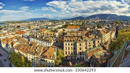 Aerial view of old center of Geneva, Switzerland. - stock photo