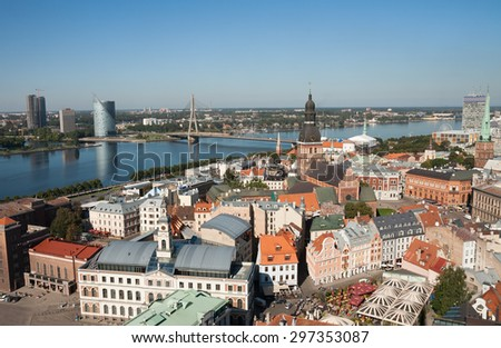 Aerial view of old city and Dome Cathedral in Riga, Latvia - stock photo