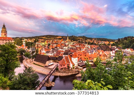 Aerial view of old Town of Cesky Krumlov, Czech Republic - stock photo