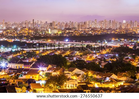Aerial view of Olinda and Recife in Pernambuco, Brazil at sunset showcasing their mix of Modern and historic architecture. - stock photo