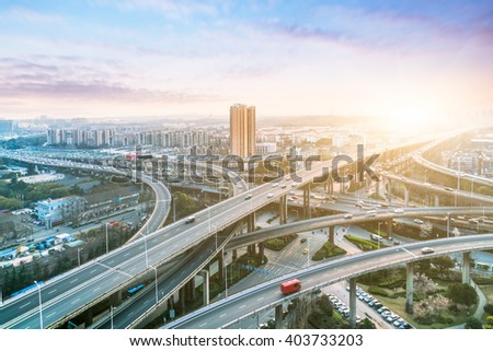 aerial view of overpass in shanghai - stock photo