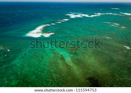 Aerial view of Pacific ocean near Maui island - stock photo