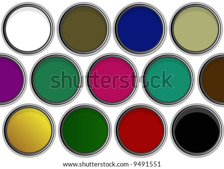 aerial view of paintpots with dark colors - stock photo