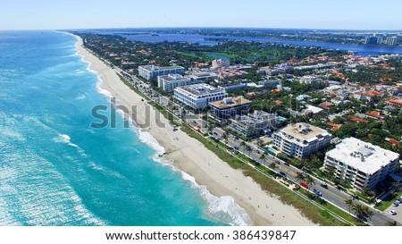 Aerial view of Palm Beach - Florida. - stock photo