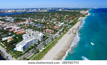 Aerial view of Palm Beach - Florida. - stock photo