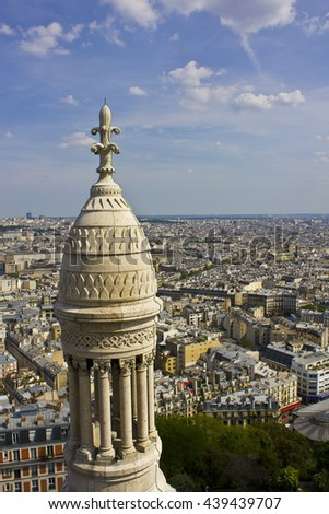 Aerial View of Paris - Aerial View of Paris From the Sacre Coeur Basilica II - stock photo