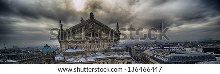Aerial view of Paris in winter season - France - stock photo