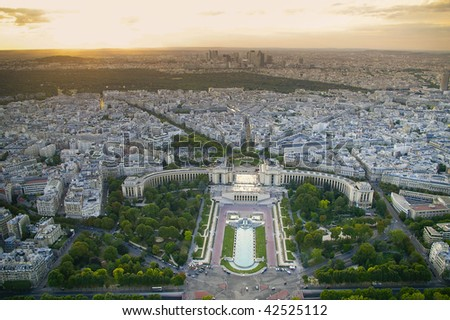 aerial view of Paris. Trocadero view, the background is the Bois de Boulogne - stock photo