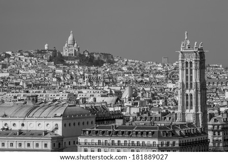 Aerial view of Paris with Sacre Coeur Basilica on the hill, France in black and white - stock photo