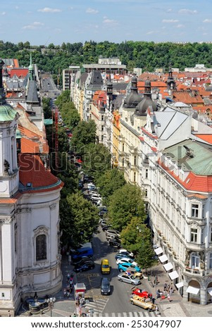 Aerial view of Parizska Street, the widest street of the Old Town of Prague, Czech Republic. It is the entrance to the Old Jewish Quarter. The street is full of luxury boutiques.  - stock photo