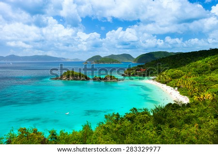 Aerial view of picturesque Trunk bay on St John island, US Virgin Islands considered by many as most beautiful beach in Caribbean - stock photo