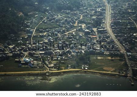 Aerial View of Pokhara, Nepal (Retro) - stock photo