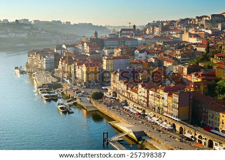 Aerial view of Porto downtown at sunset, Portugal - stock photo