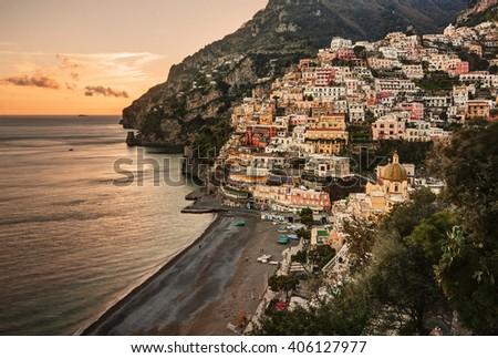 Aerial view of Positano village at sunset, along beautiful Amalfi Coast, Italy. - stock photo