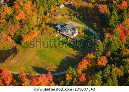 Aerial view of private residence, Stowe, Vermont, USA - stock photo