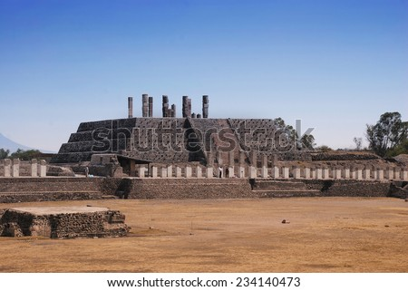 Aerial view of Pyramid of Quetzalcoatl in Ancient ruins of Tula de Allende - archaeological site in Hidalgo, Mexico - stock photo