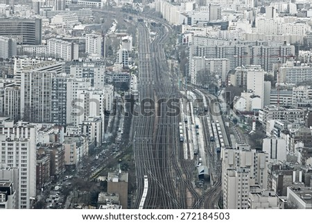 Aerial view of railway system at Gare Montparnasse, Paris, France - stock photo